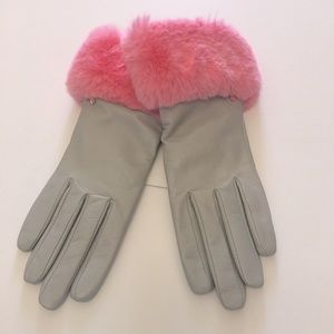 Ted Baker Gloves Gray Leather Pink Faux Fur Cuffs